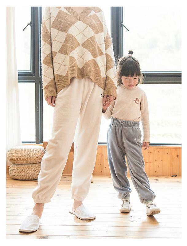 亲子装暖暖裤 2020秋冬新款加绒加厚珊瑚绒男女童打底裤居家保暖