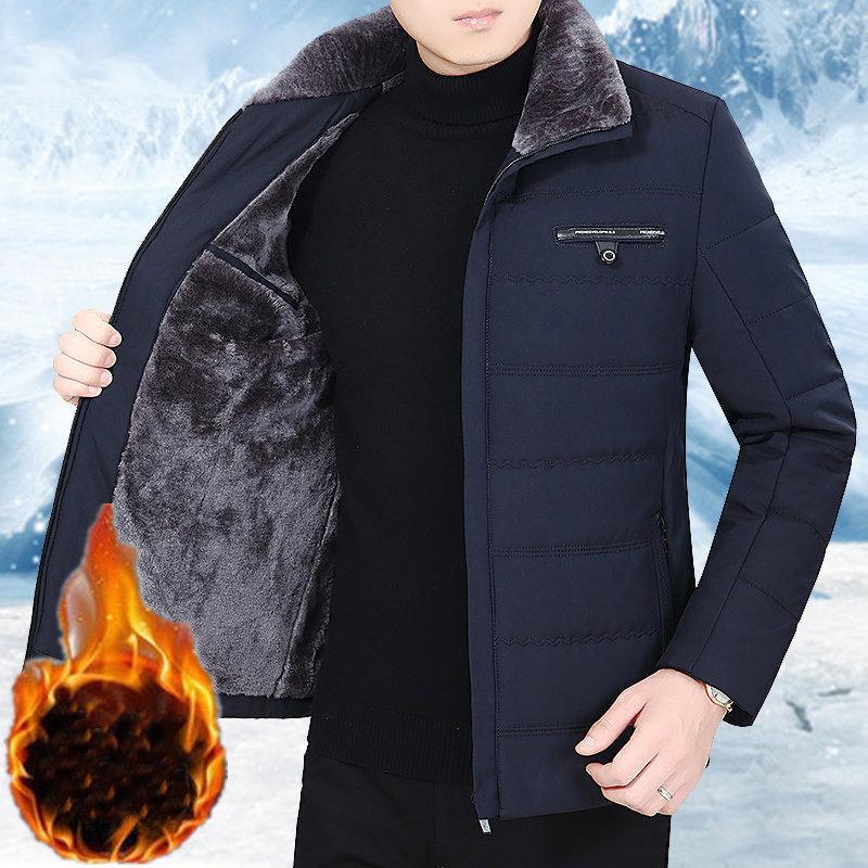 中年男士翻领棉衣冬季加绒加厚外套男中老年人男装棉服爸爸装棉袄