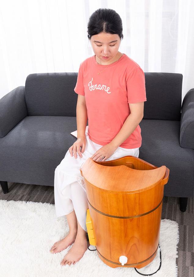 超康泡脚木桶过小腿加热恒温调节洗脚足浴盆高深实木多用熏蒸桶