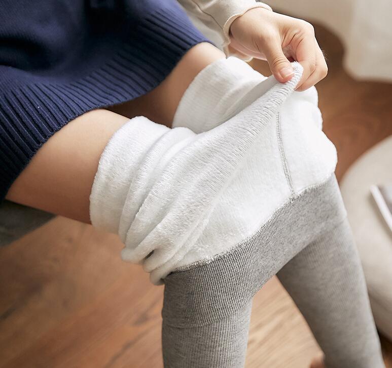 灰色打底裤女秋冬季外穿竖纹紧身显瘦新款加绒加厚小脚裤子连裤袜