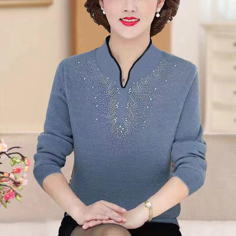 中老年打底衫秋冬新款韩版洋气妈妈装大码双面德绒烫钻长袖T恤女