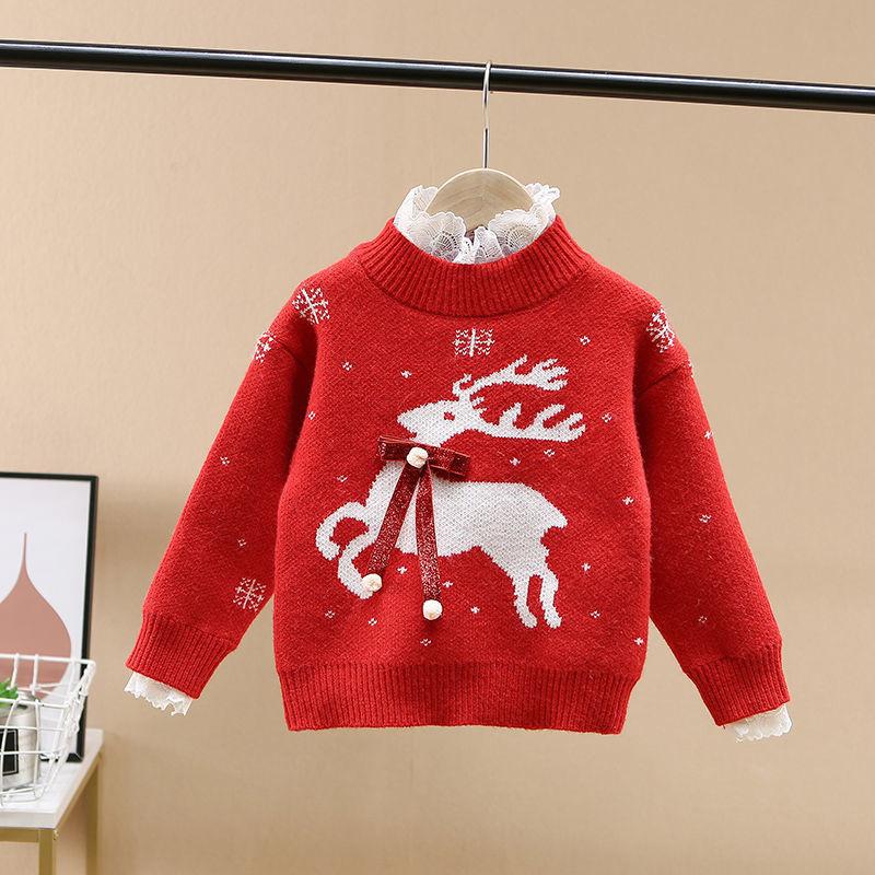 女童毛衣2020新款洋气新年装宽松儿童套头针织蕾丝打底衫加厚