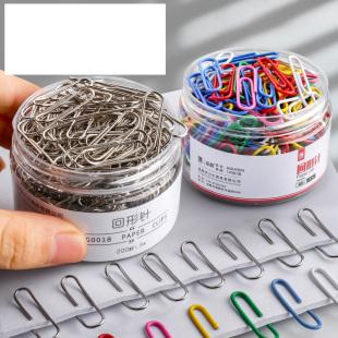 彩色回形针夹子办公用品镀镍曲别针大盒回型针可爱学生用