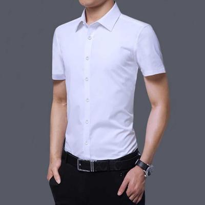 夏季男士衬衫短袖免烫韩版正装衬衣男薄款白色修身上班职业工作服