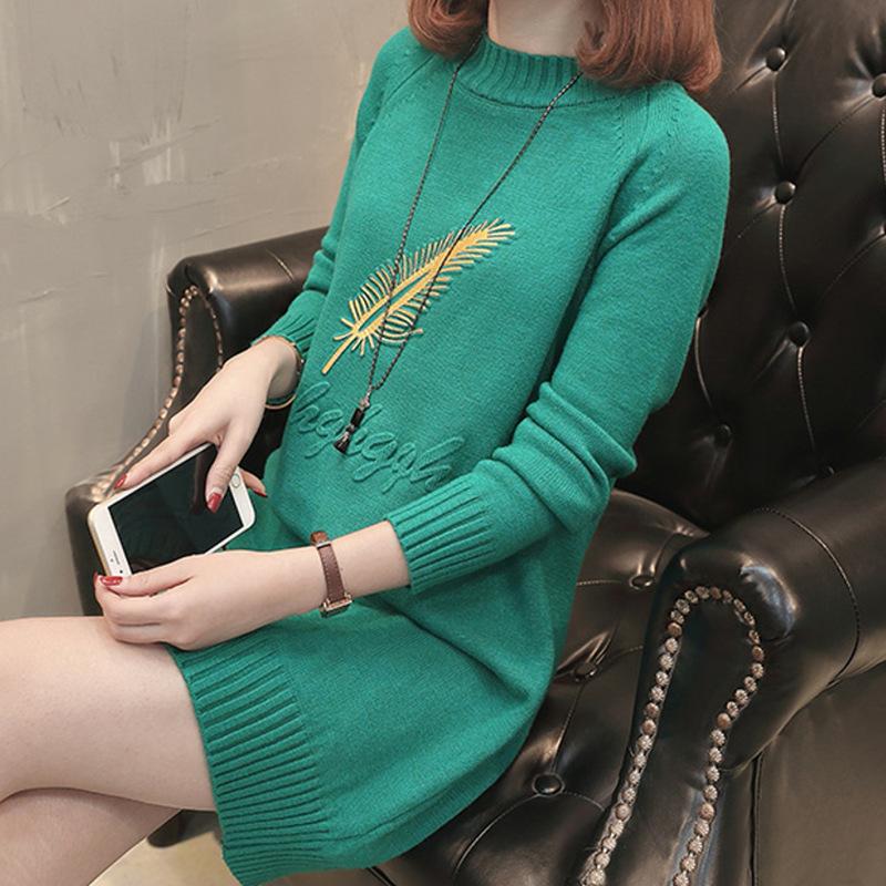 新款刺绣针织打底衫宽松百搭连衣裙女