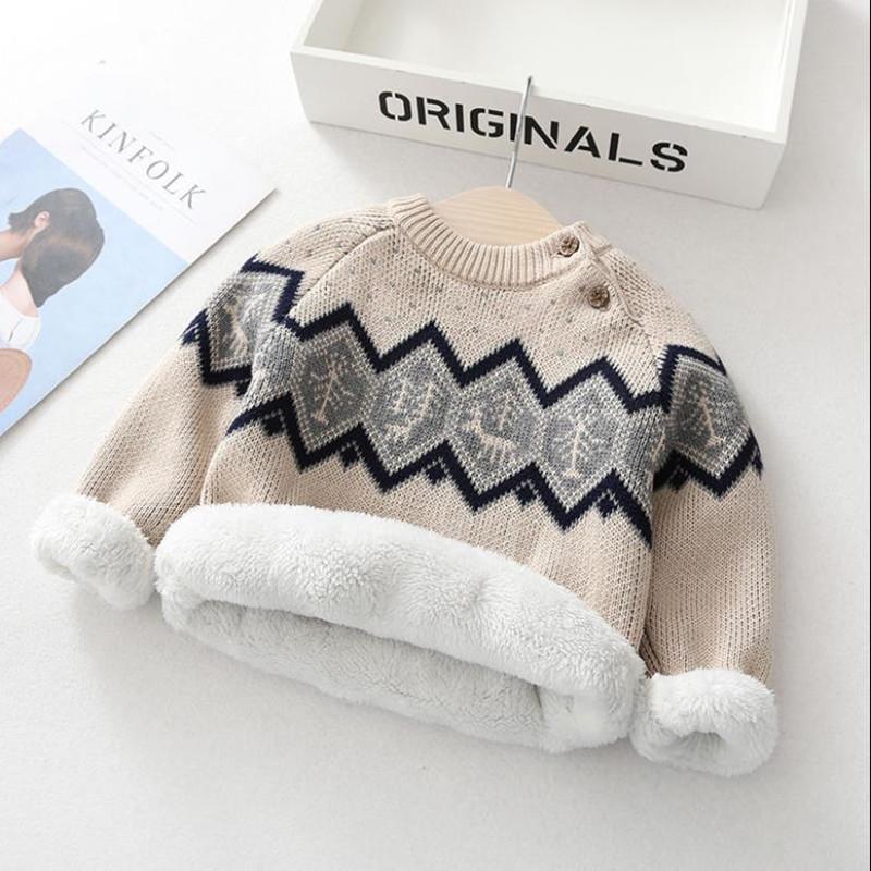 男童毛衣加绒加厚秋冬女童宝宝中小儿童婴儿针织打底套头圆领毛衣