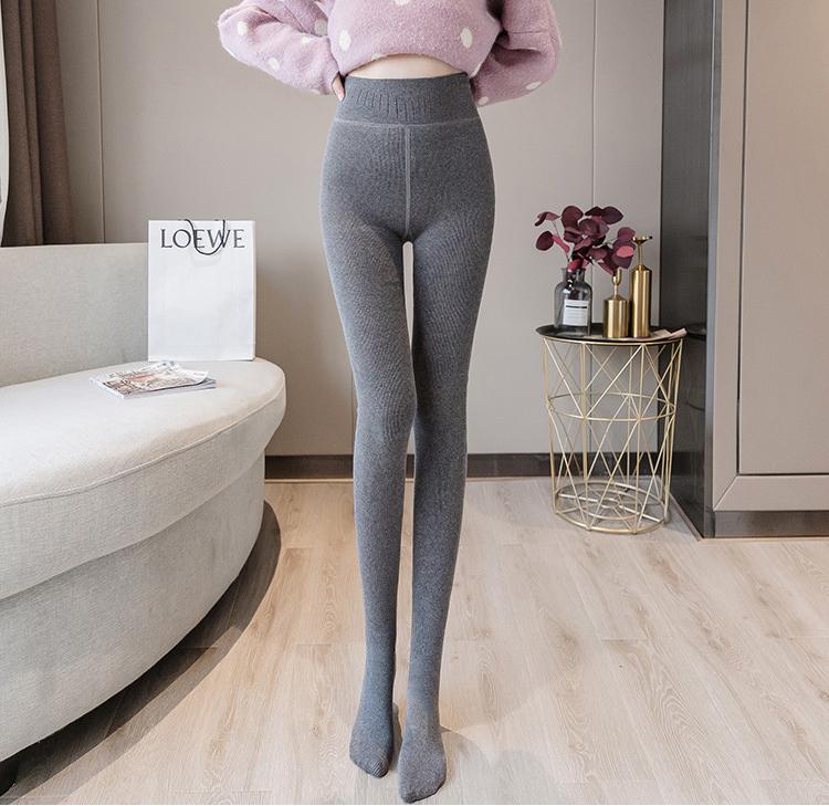 【2条更划算】CIVENGY羊绒1900D打底裤保暖裤竖条纹加绒棉一体裤