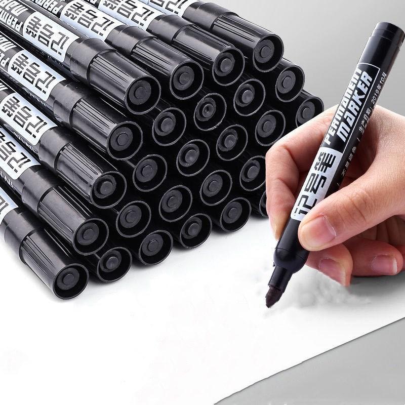 黑色防水记号笔油性大头笔不可擦红蓝粗笔头记号笔快递专用笔