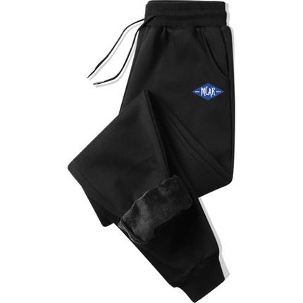 余文乐同款加绒裤子男士外穿加厚休闲运动秋冬款宽松大码束脚卫裤