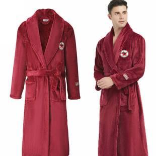 冬季珊瑚絨情侶睡袍女加厚法蘭絨浴袍男士大碼家居服