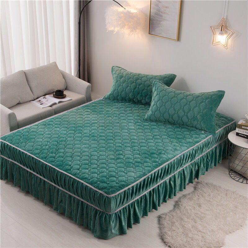 水晶绒床裙单件床罩夹棉加厚保暖床套法兰绒床罩三件套席梦思床笠