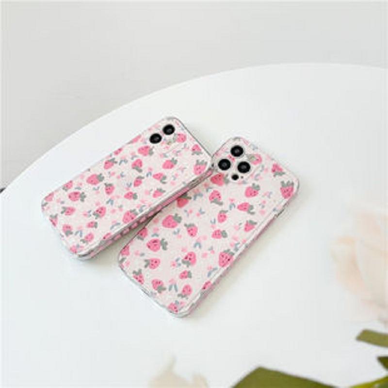 卡通侧边爱心草莓适用苹果12promaxiPhonex/xs/xr手机壳7/8plus女