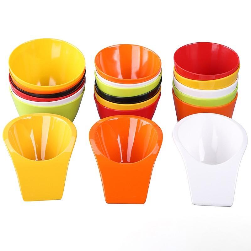火锅店餐具密胺商用创意自助餐厅塑料仿瓷斜口蔬菜桶碗蘸料调料碗