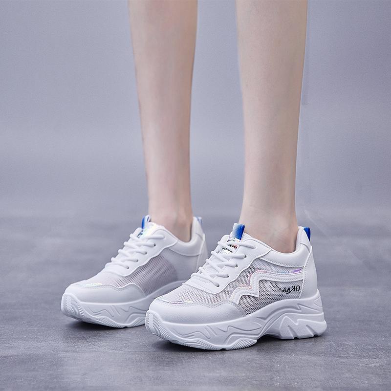 宣芭ins内增高老爹女鞋2021夏季新款韩版透气学生运动小白鞋厚底