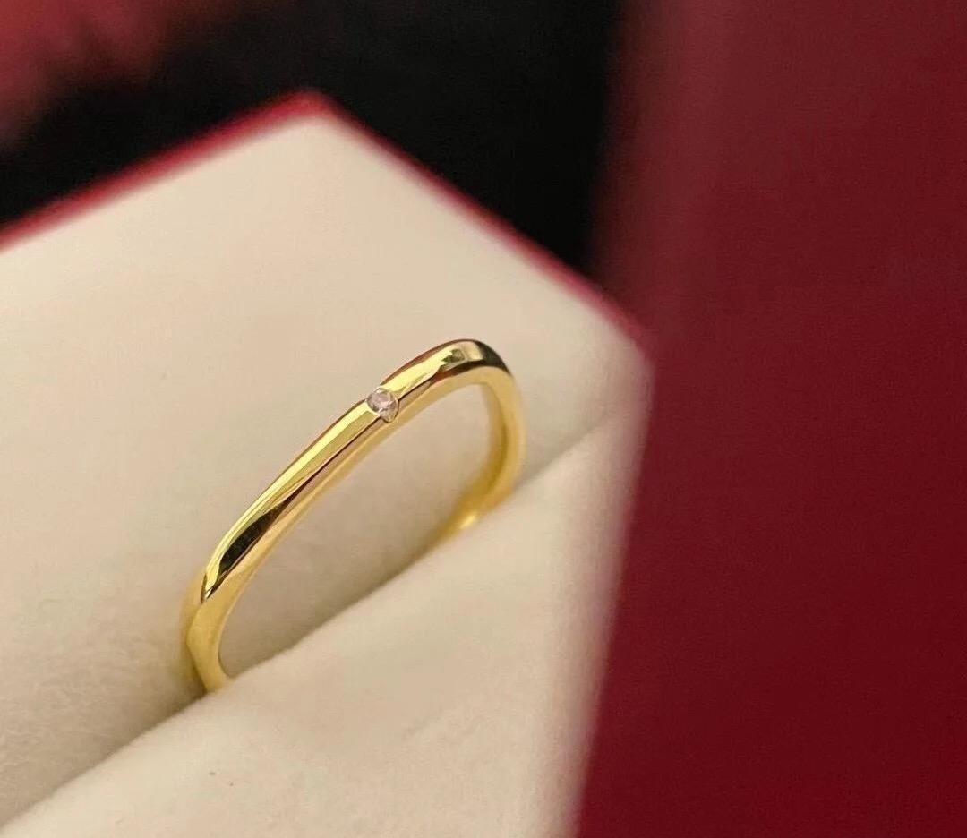 方形戒指女18K金轻奢小众精致冷淡风简约情侣对戒小几何钻石戒子
