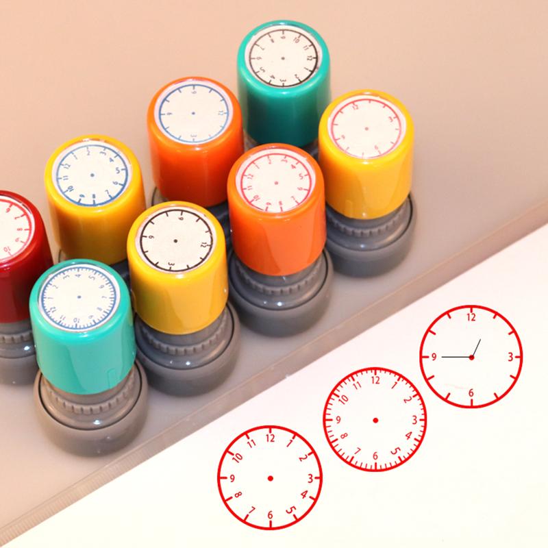 教学时钟规划印章图案一年级认识钟表模型印章道具教具表盘时间时刻小学数学教师用小学生儿童学习圆形教学用