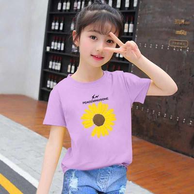 棉 女童纯棉短袖t恤女小孩子儿童衣服中大童夏装学生洋气上衣