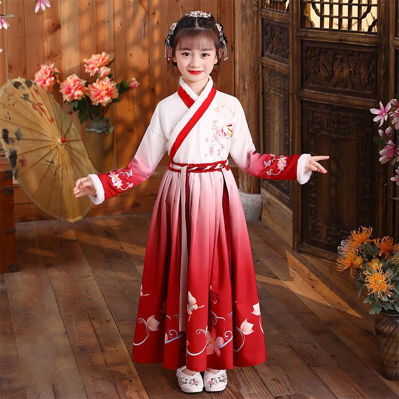女童汉服红色拜年服冬装中国风古装冬加厚儿童过年喜庆衣服唐装女