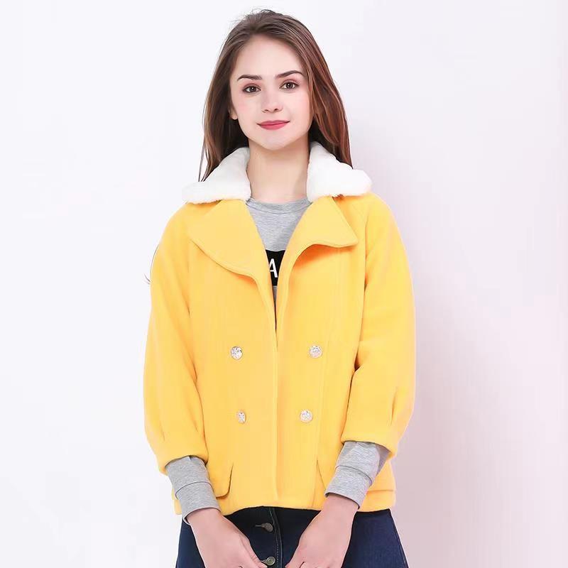 BSOT黄色毛呢大衣女冬款韩版七分袖可拆毛领