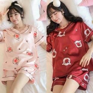 冰丝睡衣女短袖t恤两件装仿真丝休闲家居服