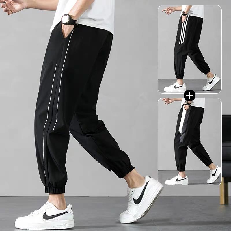 夏季男士休闲长裤韩版潮流2021新款男装冰丝薄款束脚运动九分裤子