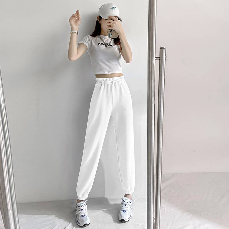 2021春款爆款新款灰色束脚卫裤高腰宽松显瘦哈伦运动裤子女ins潮