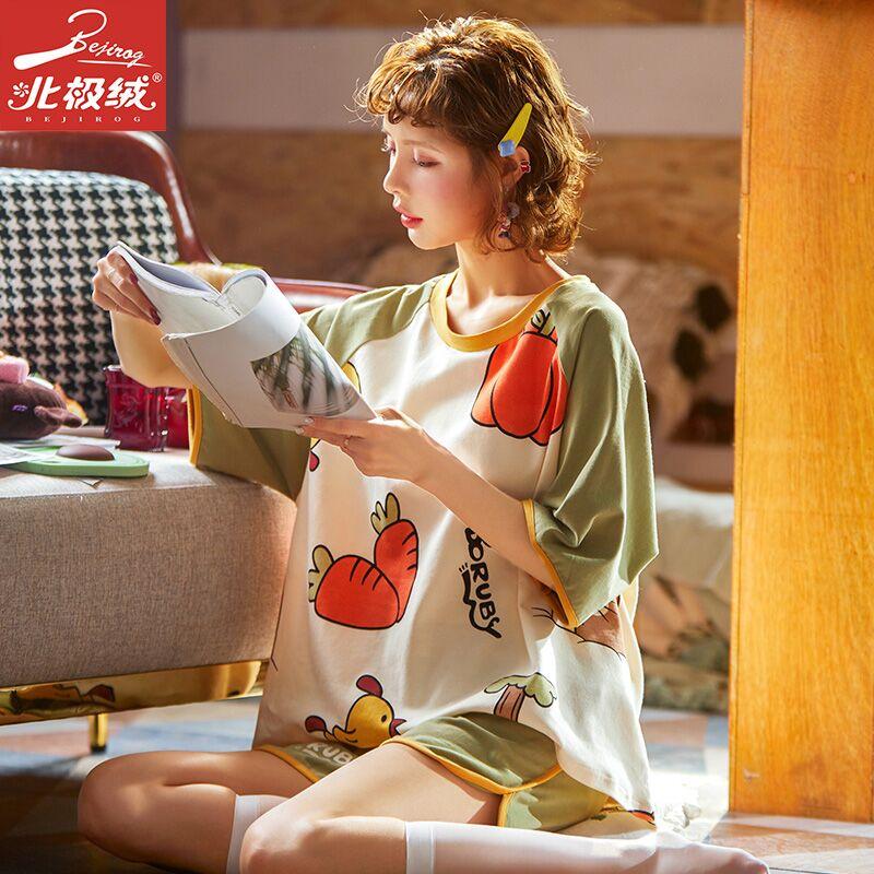 Bejirog/北极绒春夏季睡衣女纯棉短袖2021网红爆款家居服两件套夏