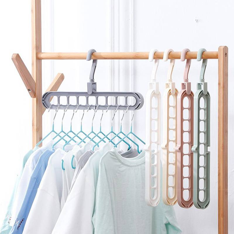 多功能九孔衣架家用旅行收纳衣柜网红折叠收缩魔术旋转挂衣