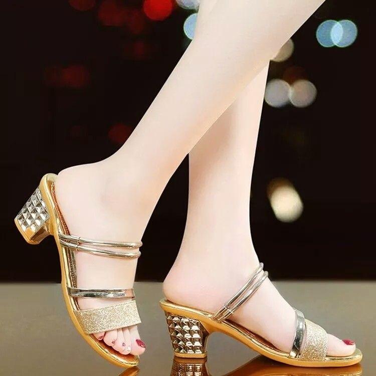 FbzK2021夏季女士凉拖鞋粗跟中跟时尚凉鞋露趾韩版性感百搭凉鞋女