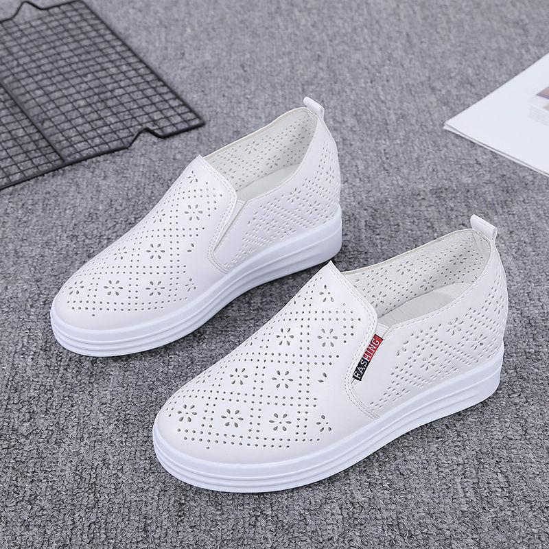 FbzK夏季透气小白鞋女内增高厚底百搭一脚蹬网鞋坡跟单鞋休闲女鞋
