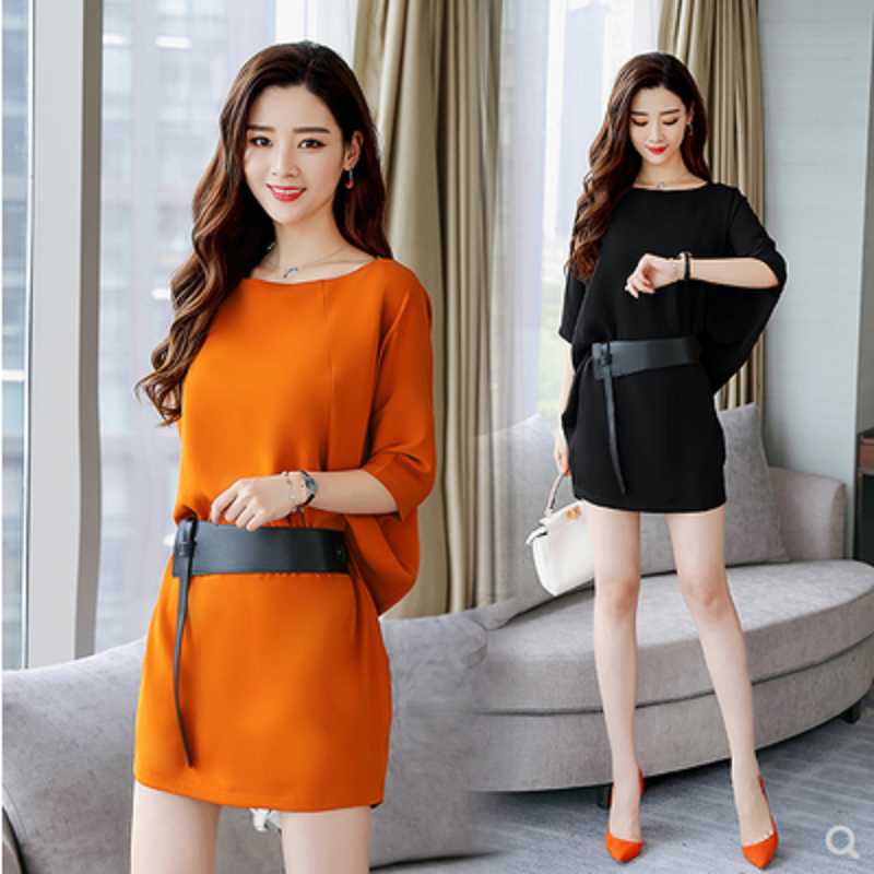 连衣裙女2021夏季新款女装蝙蝠袖宽松显瘦气质淑女中长款时尚裙子