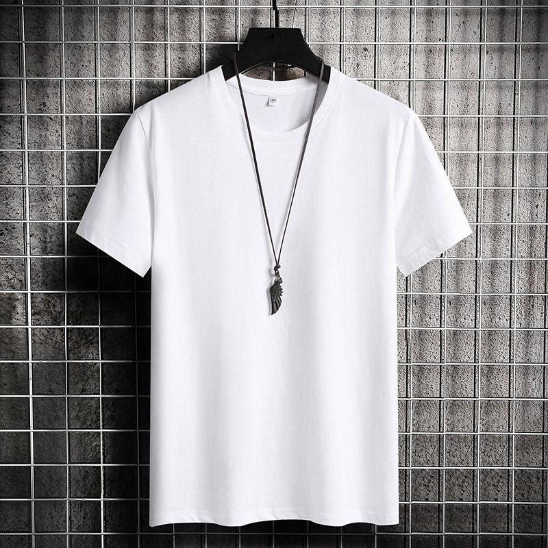 情侣短袖T恤2021夏季新品时尚纯棉男士短袖宽松潮流纯色圆领体恤