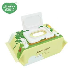 尚贝乐湿纸巾婴儿手口专用大包特价湿巾纸包邮家庭实惠装加厚80抽