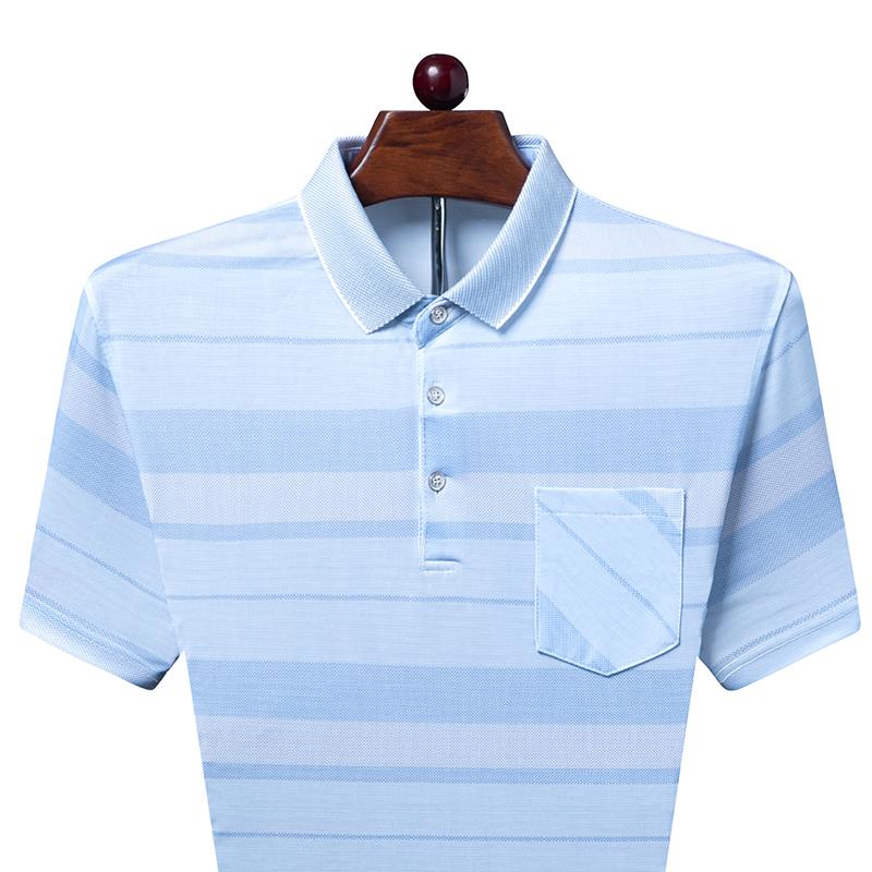 2021新款中年男士爸爸夏装短袖T恤中老年男薄款宽松翻领polo衫
