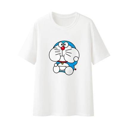 多啦a梦新疆棉白色短袖t恤女夏季纯棉卡通印花宽松体恤黑色上衣男
