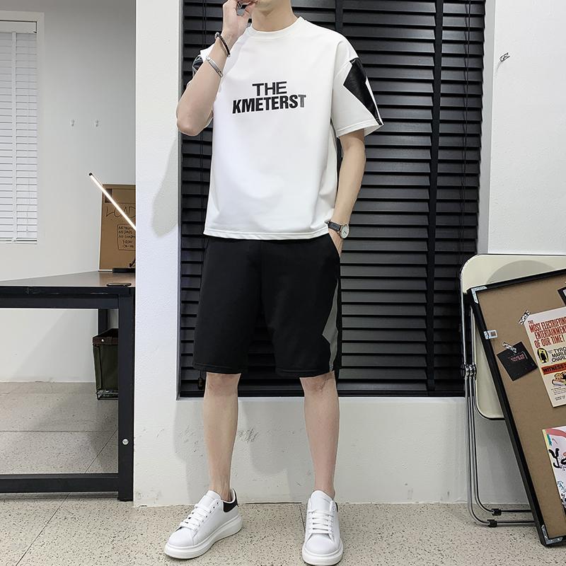 新款短袖t恤男夏季运动休闲纯棉套装搭配男装帅气短裤衣服潮牌