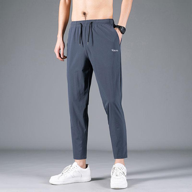 冰丝9分裤子男宽松透气直筒休闲裤夏季薄款速干弹力男士运动长裤