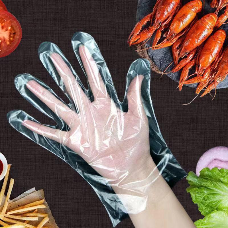 防护加厚一次性手套餐饮手套美容手膜透明塑料PE薄膜手套