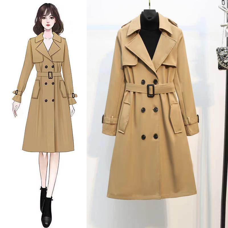 新款女风衣春装2021款韩版宽松百搭中长短款气质修身风衣流行外套