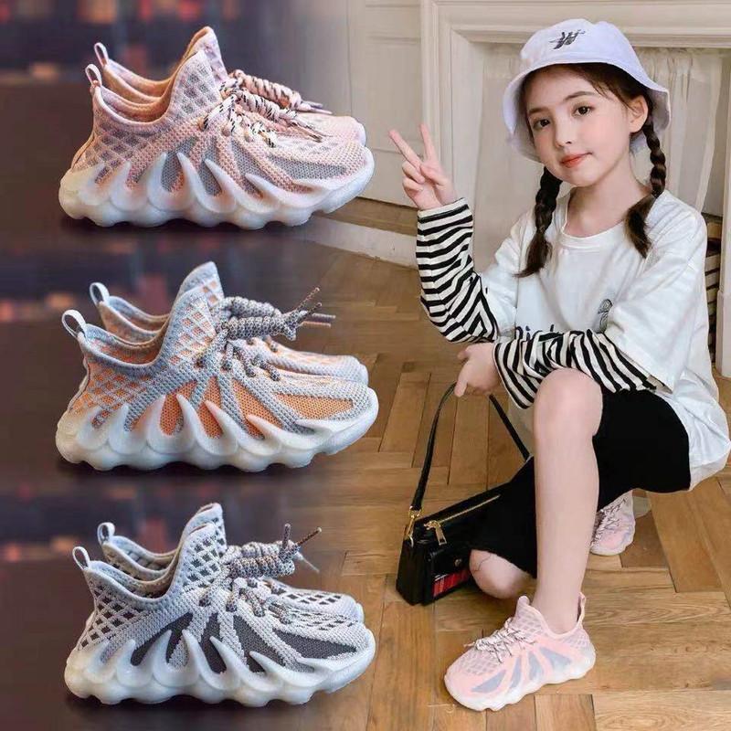 女童鞋夏季2021新款儿童运动凉鞋中大童镂空儿童透气网鞋飞织鞋