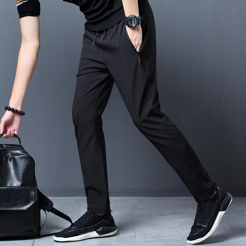 夏季男士休闲裤修身薄款韩版冰丝裤子锦轮运动裤直筒速干裤