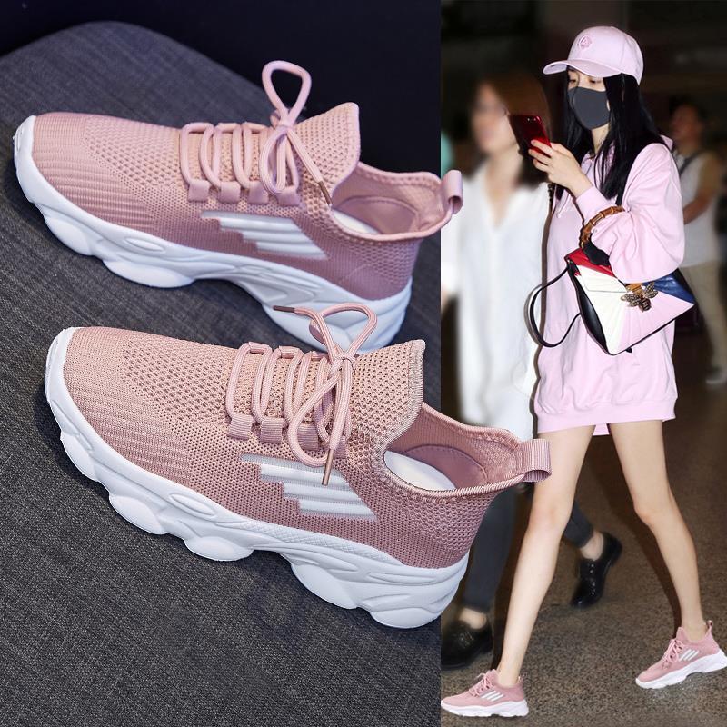 2021年夏季新款ins百搭网面薄款镂空透气小白跑步老爹运动女鞋子
