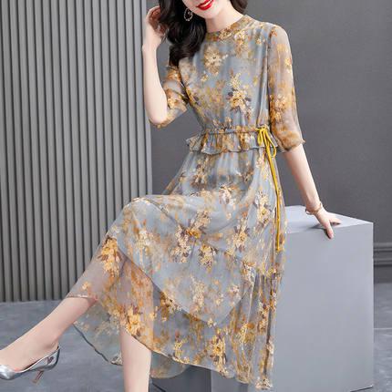 2021年新款大码女装女装夏季连衣裙中长款收腰显瘦气质碎花裙子C
