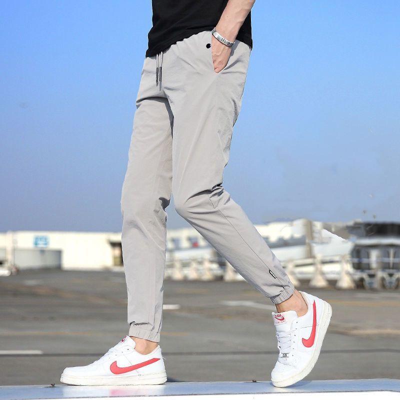 高品质夏季冰丝裤子男韩版潮流休闲裤男学生宽松束脚九分裤男D号
