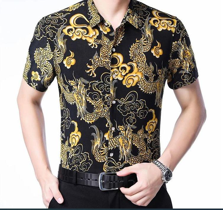 【九赛龙】夏季新款短袖男士花衬衫【真口袋】中年爸爸休闲男衬衣