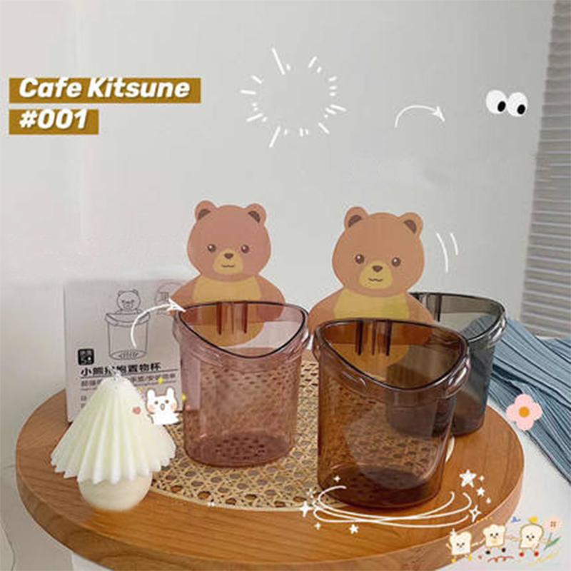 小熊抱抱置物杯免打孔浴室壁挂式置物架梳子收纳盒牙膏牙刷收纳架