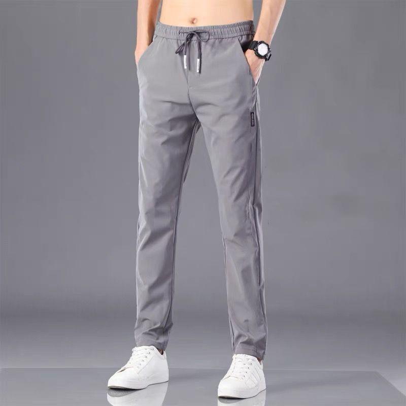 夏季休闲青年冰丝裤子男士长裤运动裤薄款小脚裤宽松直筒裤子G款