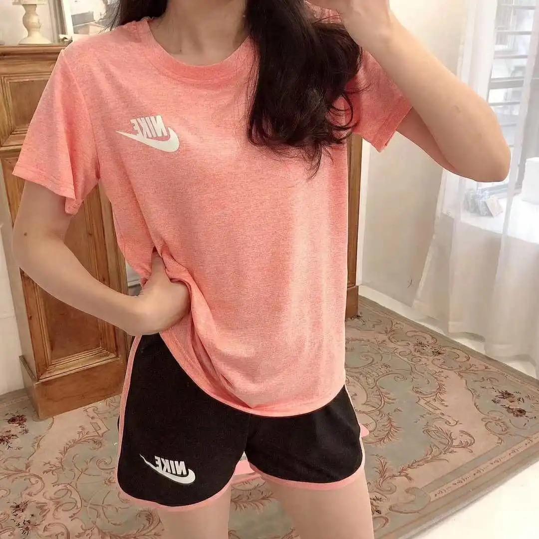 夏季速干衣运动套装女休闲宽松跑步健身外穿字母印花瑜伽服两件套