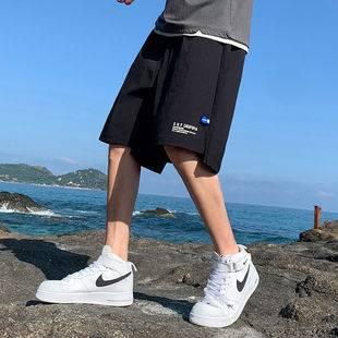 男士短裤休闲外穿中裤运动冰丝沙滩五分裤子