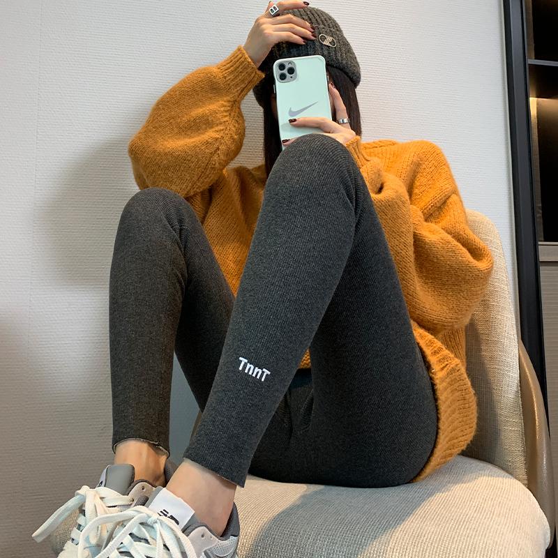 2021显瘦高腰收腹灰色打底裤女外穿春秋薄款紧身纯棉小脚裤紧身裤